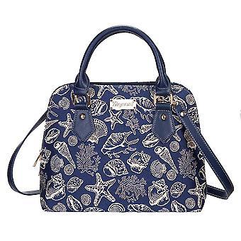 Sea shell top-handle shoulder bag | blue tapestry ladies shoulder bag | conv-shell