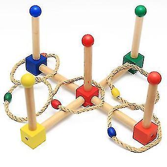 Montessori لعب الأطفال في مرحلة الطفولة المبكرة، خشبية اليد والعين التنسيق رمي خاتم
