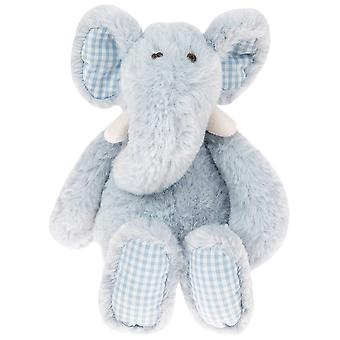 LAST FEW - Elephant Soft Toy with Gingham Check Fabric Ears and Feet - Very Light Blue - Gift Item