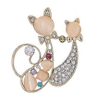 Retro lány bross két macska fűző gyémánt intarjozott sál klip ékszer bross pin