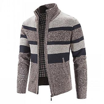 Mile Men's Casual Slim Full Zip Thick Knitted Cardigan Sweaters