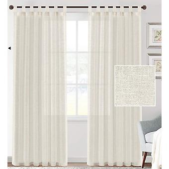 2X linen blended sheer curtains textured woven linen sheers curtain drapes for living room/bedroom light filtering tab top casual draperies - ivory