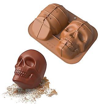 الجمجمة كعكة قالب السيليكون Diy الخبز العفن المضادة عصا علبة الخبز القابلة لإعادة الاستخدام للكعك الطرف هالوين