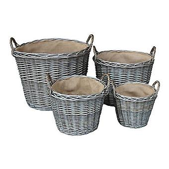 Set of 4 Antique Wash Finish Wicker Lined Log Baskets