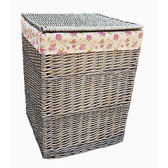 Grande cesto de roupa quadrado com Rose Garden forro