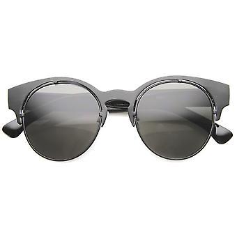 メンズ金属半縁なしサングラス UV400 保護複合レンズ