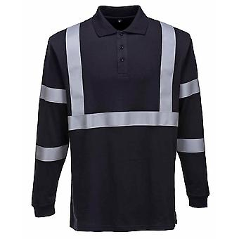 Portwest - Flame Resist Anti-Static Long Sleeve Polo Shirt -Reflective Tape