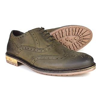 Silver Street London Central Mens Grey Leather Country Brogues