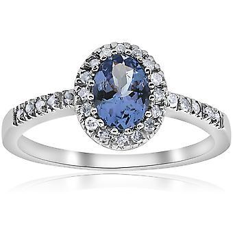 Oval Tanzanite Halo Diamond Ring 10K hvidguld