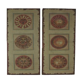 Faces of the Sun 2 Piece Distressed Burlap Canvas Print Set