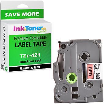 Kompatibel Brother TZe-421 svart på rød 9mmx8m etiketter for PT-1750