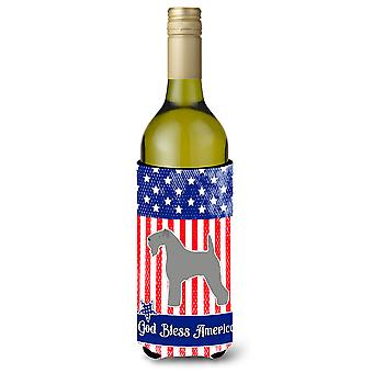 USA Patriotic Kerry Blue Terrier Wine Bottle Beverge Insulator Hugger