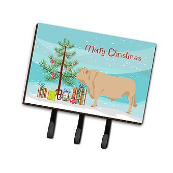 Carolines Treasures  BB9193TH68 Charolais Cow Christmas Leash or Key Holder