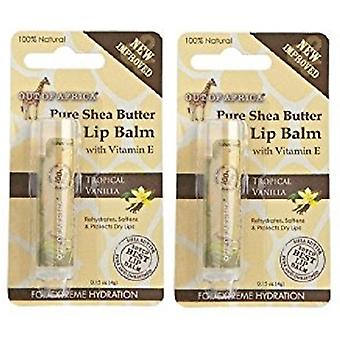 Out of Africa Shea Butter Lip Balm Tropical Vanilla 2 Tube Pack