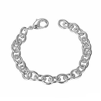 Womens Silver Plated Charm Chain Bracelet With Lobster Close