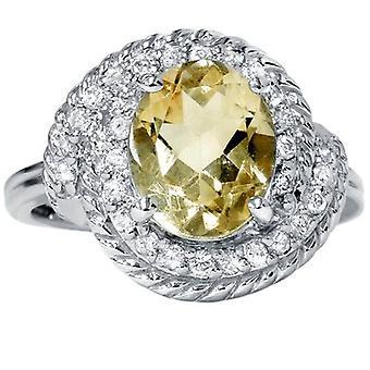 2 7 / 8ct ovale Citrien Vintage ovale Diamond Womens gevlochten Ring 14K witgoud