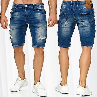 Mens Bermuda Jeans Shorts Stretch Denim Capri Ripped Holes Cracks Summer Pants