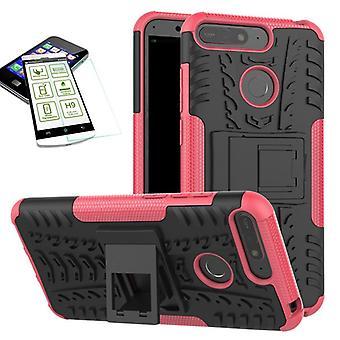 Voor Huawei Y6 2018 hybrid case 2 stuk SWL roze + gehard glas tas gevaldekking van mouw