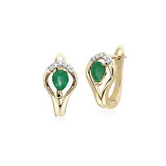 Classic Round Emerald & Diamond Leaf Halo Lever back Earrings in 9ct Yellow Gold 135E1578039