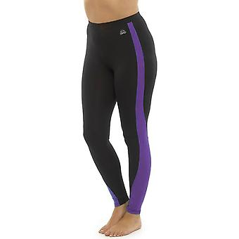 Ladies Tom Franks Two Tone Sport Gym Leggings Fashion SML-Purple