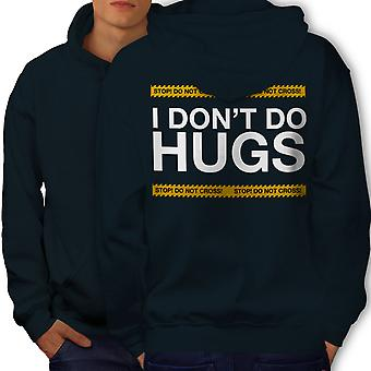 Hug Stop Introvert Men NavyHoodie Back | Wellcoda