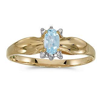 LXR 14k الذهب الأصفر البيضاوي أكوامارين وخاتم الماس 0.14ct