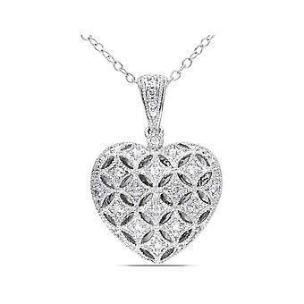 1/7 Carat (ctw I2-I3) Diamond Heart Locket Pendant Necklace in Sterling Silver with Chain