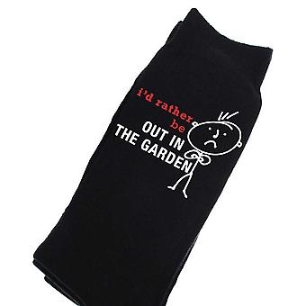 Mens I'd Rather Be Out In The Garden Black Calf Socks
