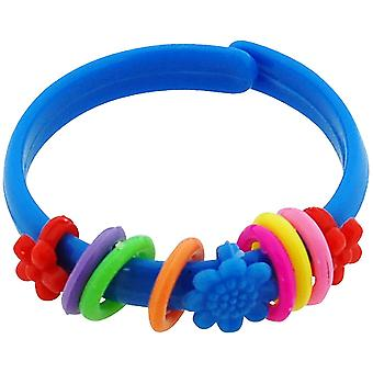 The Olivia Collection Children's Blue Plastic Flower & Rings Bangle - Pack of 10
