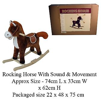 Dark Brown Rocking Horse With Sound And Moving Mouth