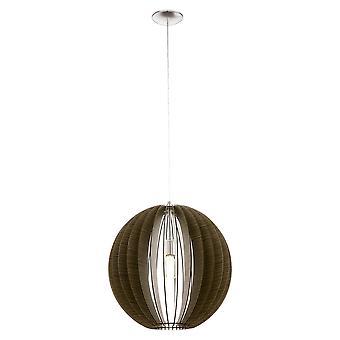 Eglo - Cossano grote één licht plafond hanger In mat nikkel en donker hout afwerking EG94636