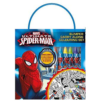 Ultimate Spiderman Bumper Carry Along Colouring Set with Wax Crayons