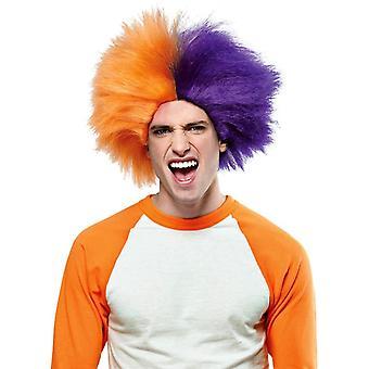 Pruik voor sport leuk oranje paars