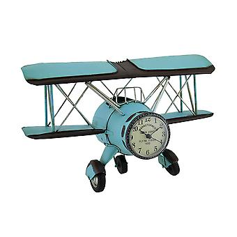 Blue Barnstormer Retro Biplane Wall Clock Sculpture 12 Inch