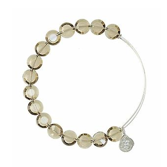 Alex and Ani Smoke Luxe Bead Silver Bangle BBEB111S