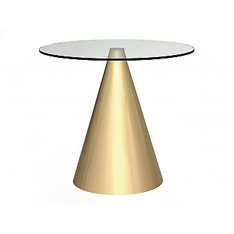 Gillmore Round Clear Glass Dining Table With Conical Brass Base