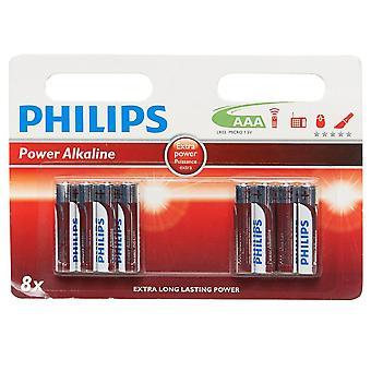 New Phillips Ultra Alkaline AAA LR03 Batteries 8 Pack Assorted