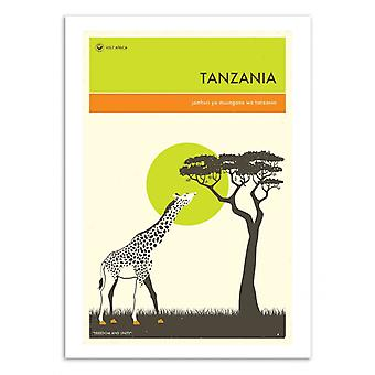 Art-Poster - Tanzania Travel Poster - Jazzberry Blue 50 x 70 cm