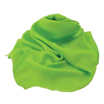 Eternal Collection Plain Lime Green Large Square Pure Silk Chiffon Scarf