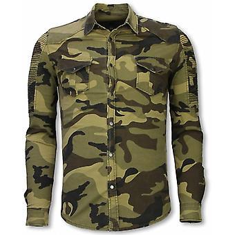 Biker Denim Shirt-Slim Fit Ribble Camouflage-Green