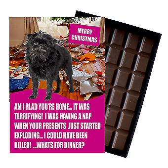 Affenpinscher Themed Funny Christmas Gift For Dog Lover Chocolate Greeting Card Xmas Present