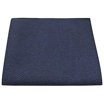 Midnatsblå & sort sildeben Pocket Square, lommetørklæde