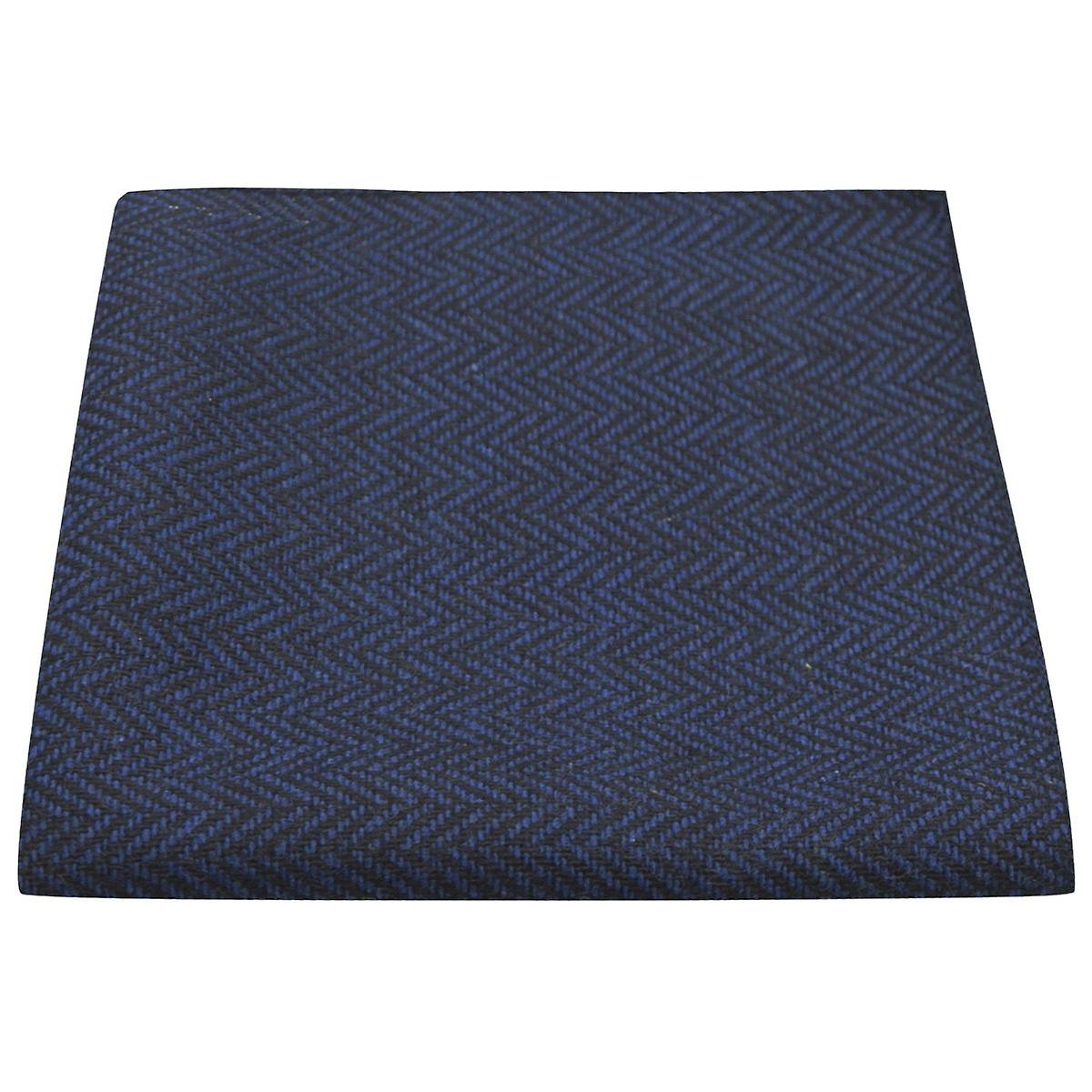 Midnight Blue & Black Herringbone Pocket Square, Handkerchief