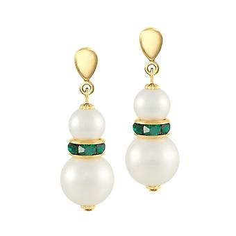 Eternal Collection Alpine Emerald Green Crystal Shell Pearl Gold Tone Drop Clip On Earrings