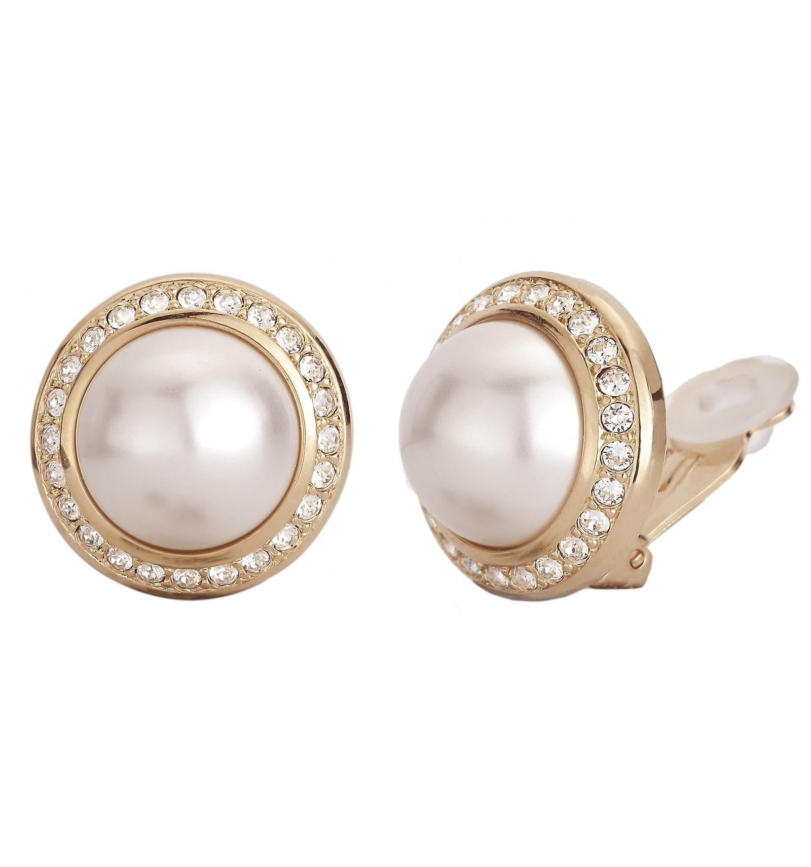 Traveller clip earring - 16mm white pearl - 22ct gold plated - 113259