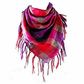 Plaid Pink, Purple And Gray Scarf