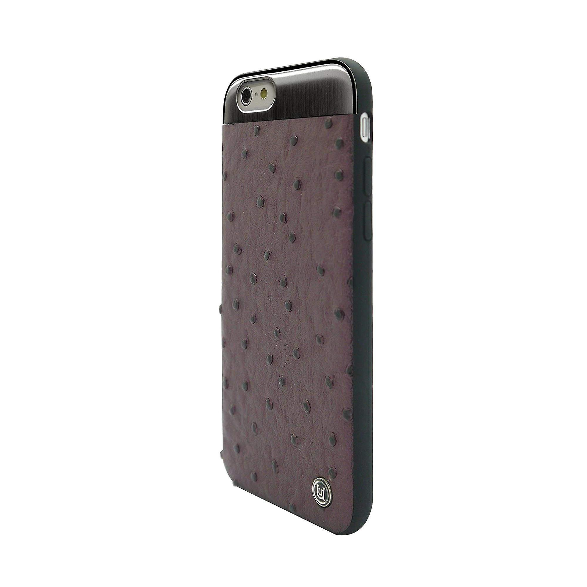 iPhone 6/6s - 4.7 Inch Ostrich with Brushed Metal Plate Purple Hard Shell