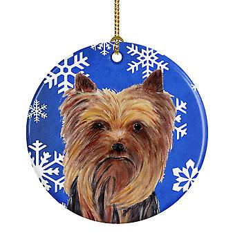 Carolines Treasures  SC9365-CO1 Yorkie Winter Snowflakes Holiday Ceramic Ornamen