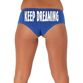 Women's Funny Booty Shorts Keep Dreaming Slanted White Bold Style Type