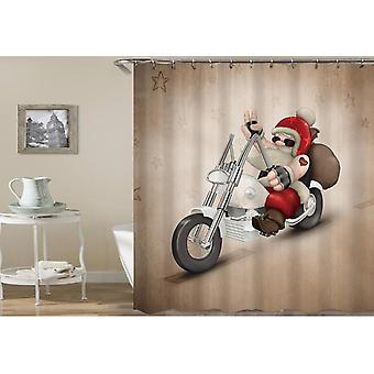 Santa Riding A Harley Shower Curtain